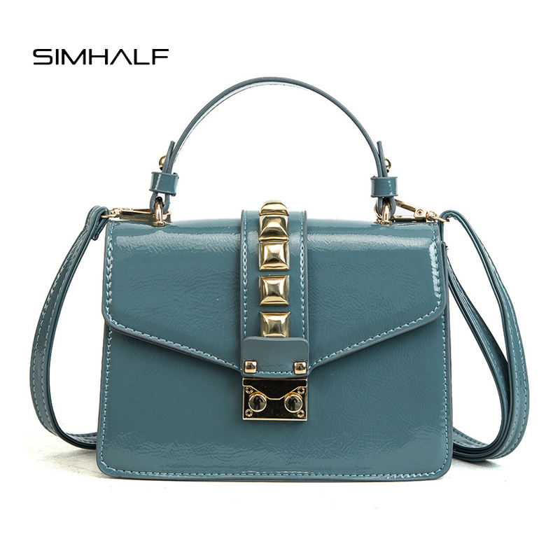 SIMHALF Classic women shoulder messenger bags ladies patent leather handbags fashion crossbody bags female small tote bag bolsas women handbag genuine patent leather crossbody shoulder bag women leather handbags messenger bags ladies tote bolsas purse 3 set