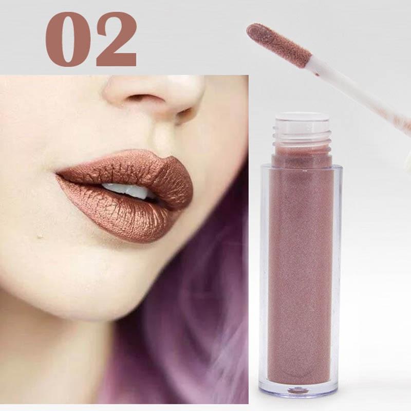 Women Fashion Glitter Lipstick Diamond Shine Lips Makeup Metallic Matte Lip Stick Lasting Waterproof Lipsticks 4