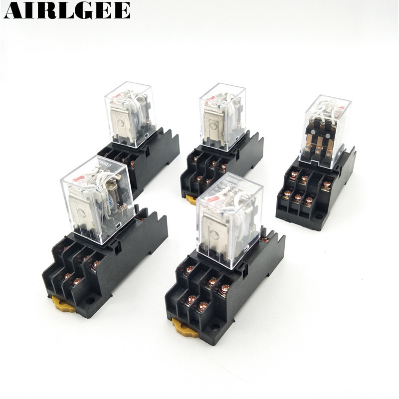 цена на AC 110 Coil 3PDT 3NO 3NC 11 Pin Red LED Power Electromagnetic Relay 5 Pcs With Socket Free Shipping