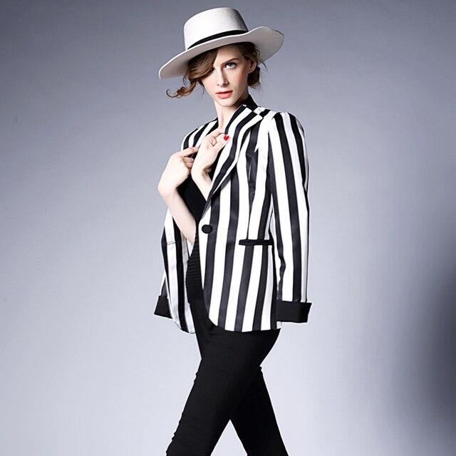 New mulheres Lady moda Tops terno Slim OL listrado preto e branco Blazer jaqueta casaco curto