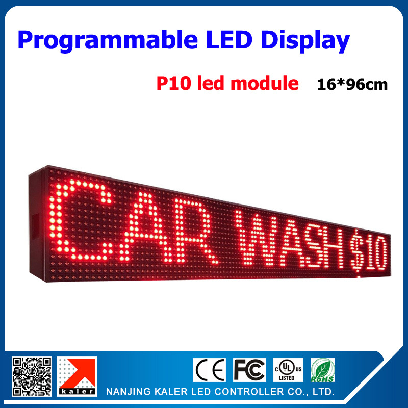 16*96cm Red Led Scrolling Text Signboard P10 Led Display 1/4 Scan Led Signboard