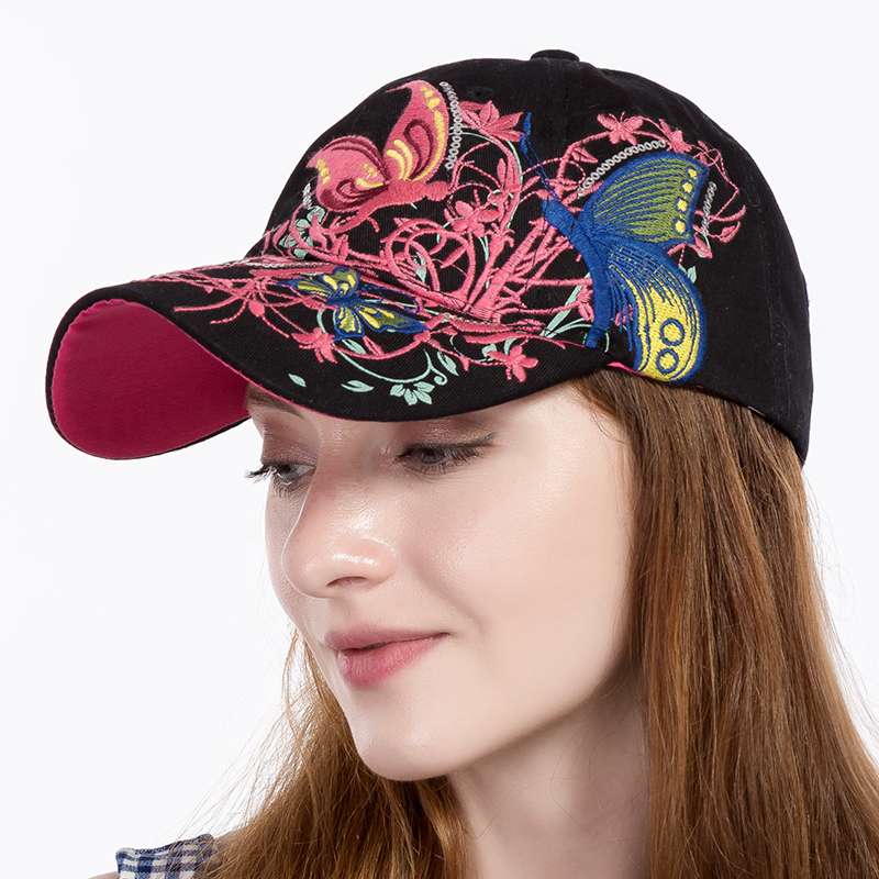 Butterflies and Flowers Embroidered Baseball Caps 2017 New High-quality Baseball Caps Women's Fashion Summer and Autumn Hat cap kelme top quality survetement football waterproof jackets soccer uniform athletics jogging training soccer champions windcoat 28