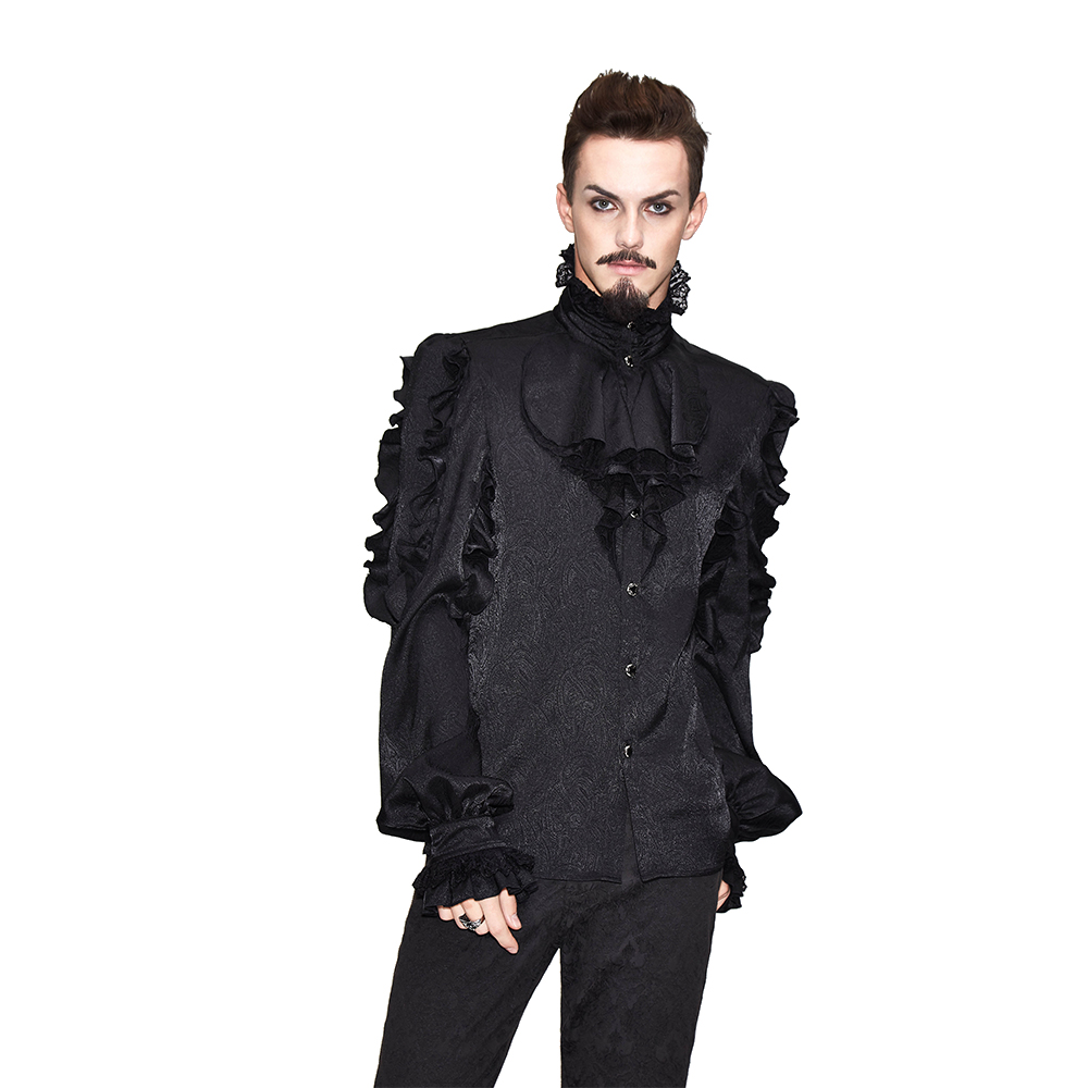 Men's Gothic Steampunk Long Sleeve High-Necked Black Ruffle T Shirts Tops Spring Tee Shirts Punk Blouse