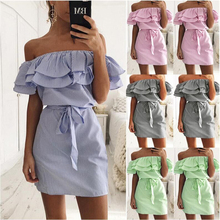 4pcs/pack fashion Women's Ruffled Striped Slim Dress With Belt blue gray pink green color цена 2017