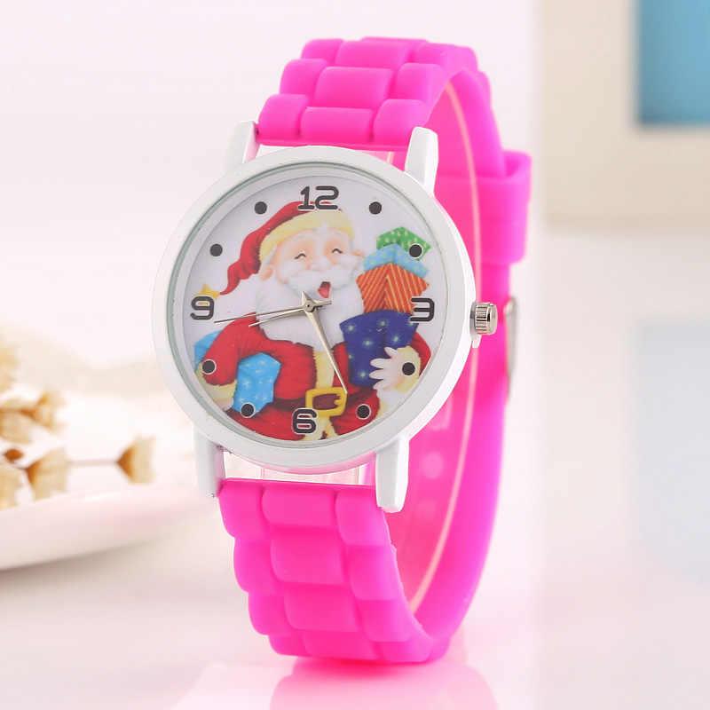 Модные рождественские часы с милым Санта-Клаусом и снеговиком; дизайнерские часы для девочек-подростков; женские часы; аналоговые Силиконовые кварцевые часы