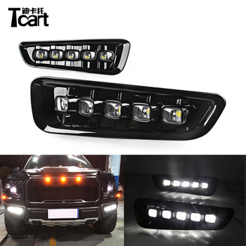 Tcart 1Set Free Shipping Car LED DRL Driving Daylight For Ford Raptor F150 2017 2018 Auto White Daytime Running Lights Assembly