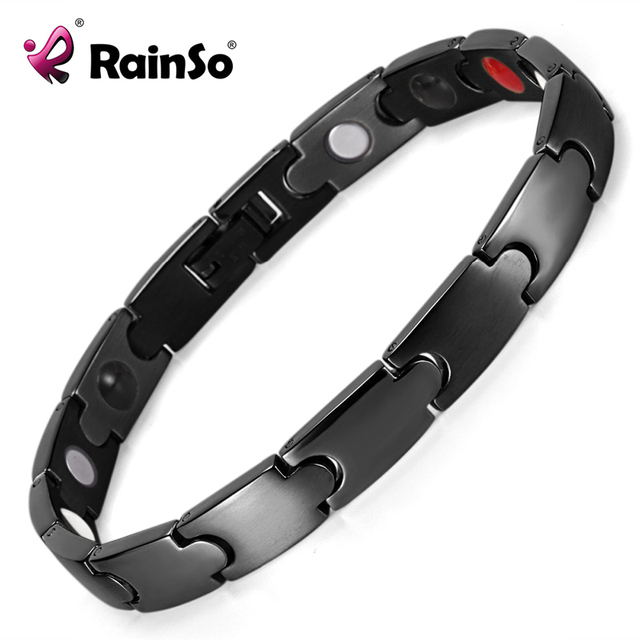 Rainso Brand Fashion Energy 4 Health Elements Stainless Steel Magnetic Bracelet Pulceras For Men Black Plated OSB-1545BK