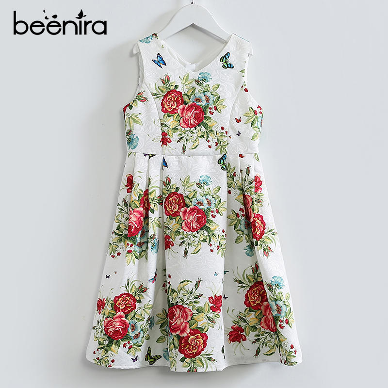 Beenira Girls Dress 2017 New European And American Style Children Sleeveless V-neck Clothes Dress Design For Kids Princess Dress v neck black white stripe sleeveless irregular dress