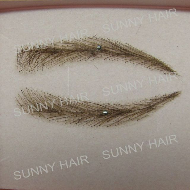 EB013 invisible swiss lace relastic hand made human hair false eyebrow dark brown 2# color 1