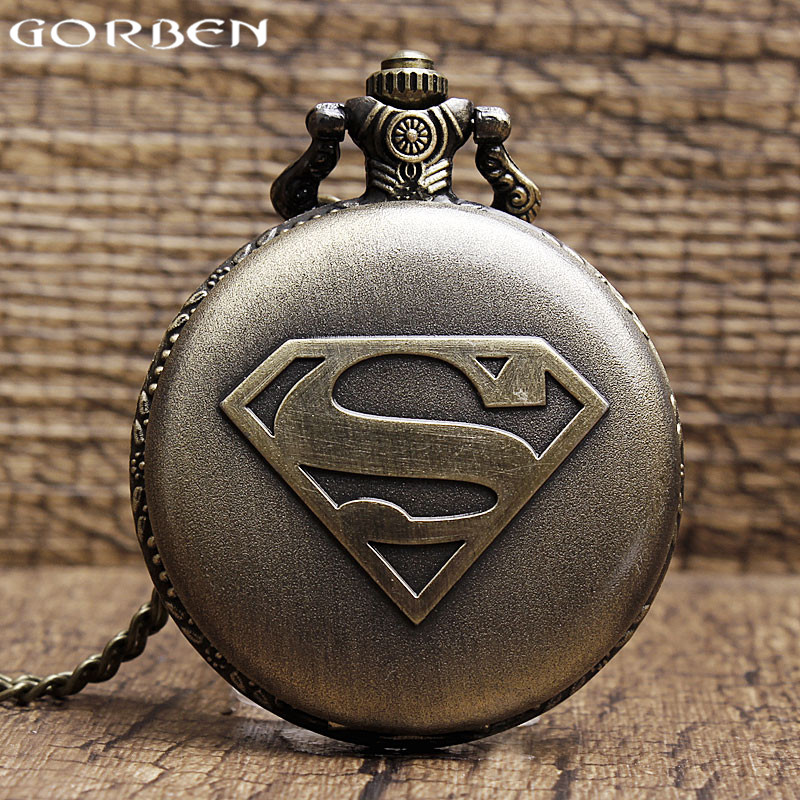 2017 Hot Sale Bronze Retro Superman Pattern Exquisite Quartz Pocket Watch Men Women Pocket Watch Best Gift With Chain Necklace