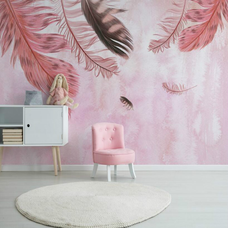Modern minimalist hand-painted pink feathers 3d wallpaper for bedroom home improvement wallpaper Background Wall Painting