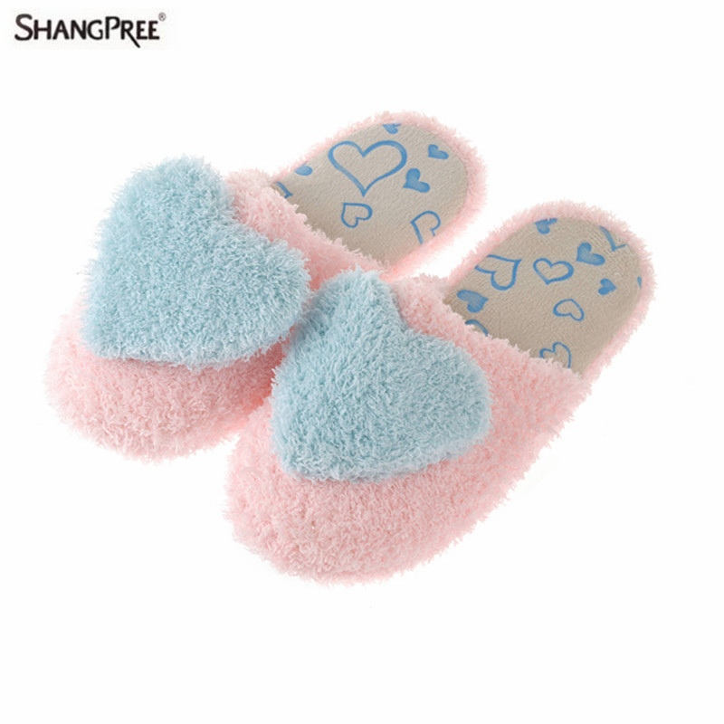 SHANGPREE Winter Women House Plush Warm Indoor Slipper for