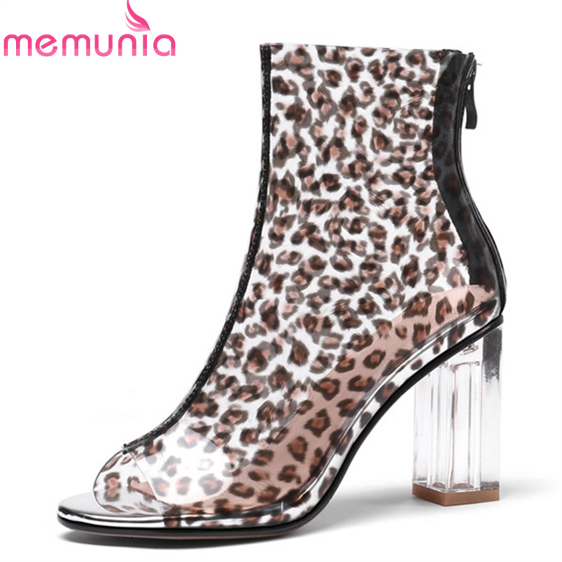 MEMUNIA 2019 Leopard peep toe summer boots woman simple zip crystal high heels party prom shoes sexy fashion ankle boots women MEMUNIA 2019 Leopard peep toe summer boots woman simple zip crystal high heels party prom shoes sexy fashion ankle boots women