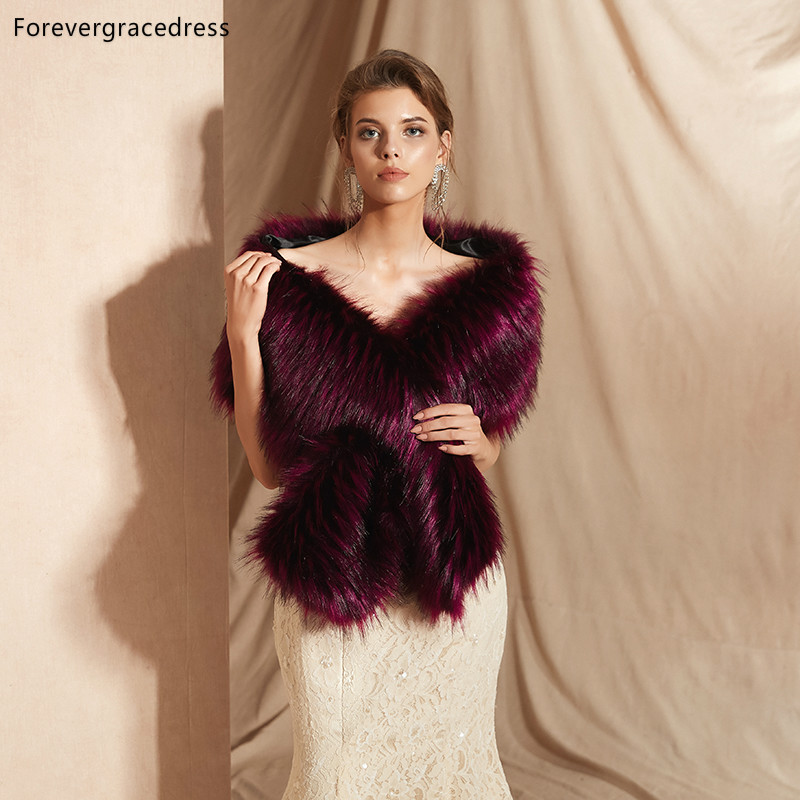 Forevergracedress 2019 Elegant Soft Autumn Winter Faux Fur Bride Wedding Wrap Bolero Jackets Bridal Coats Shawls Scarves PJ319