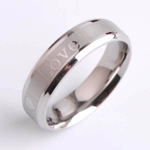Wide 6mm silver love heart 316L Stainless Steel finger rings for men women jewelry  wholesale