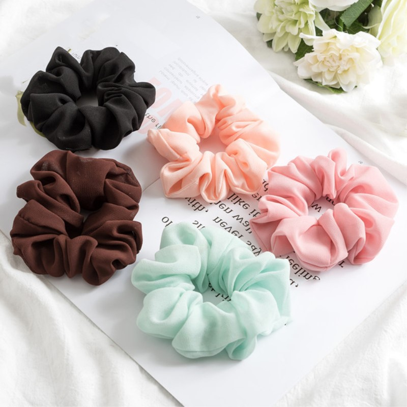 Fashion Bobble Solid Chiffon Scrunchie Pure Rope Sports Dance Elastic Headband Women Hair Bands Ring Ponytail Round Headbands