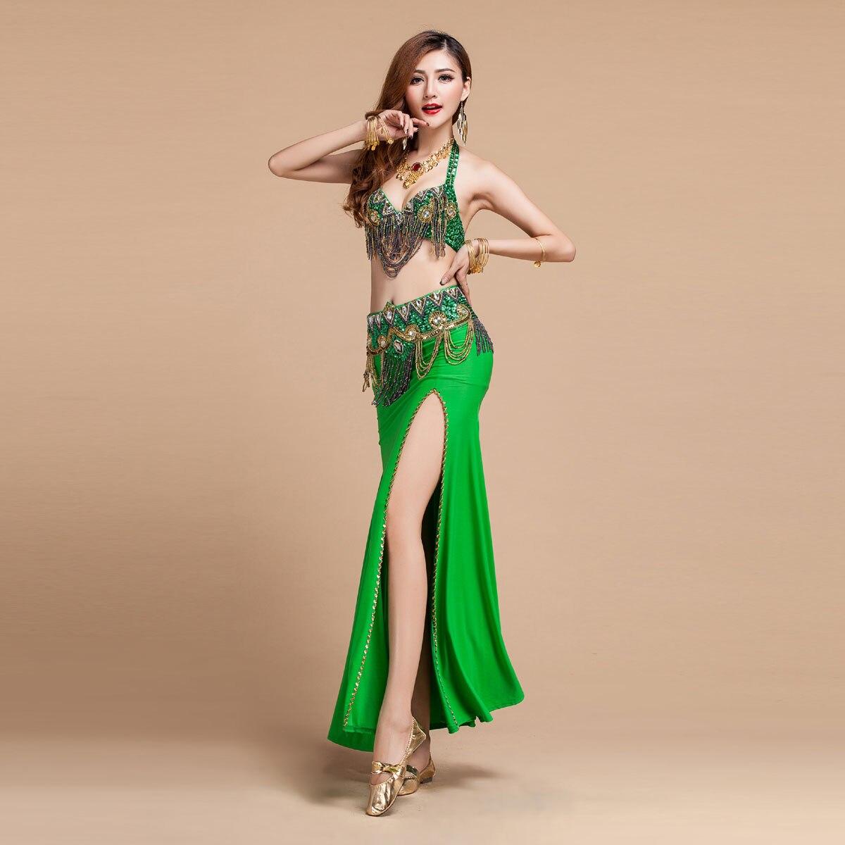 Venda quente vermelho/rosa/roxo/verde conjuntos de 3 Peças de Dança Do Ventre (bra + cinto + Saia) Traje de Dança do ventre Conjunto Pérsia/Egito Trajes Indianos