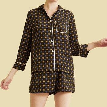 Spring Summer Women Printed Pajama Sets Star Pattern Polyester Night Suits Vintage Pijama Women Long Sleeve Pajamas With Shorts
