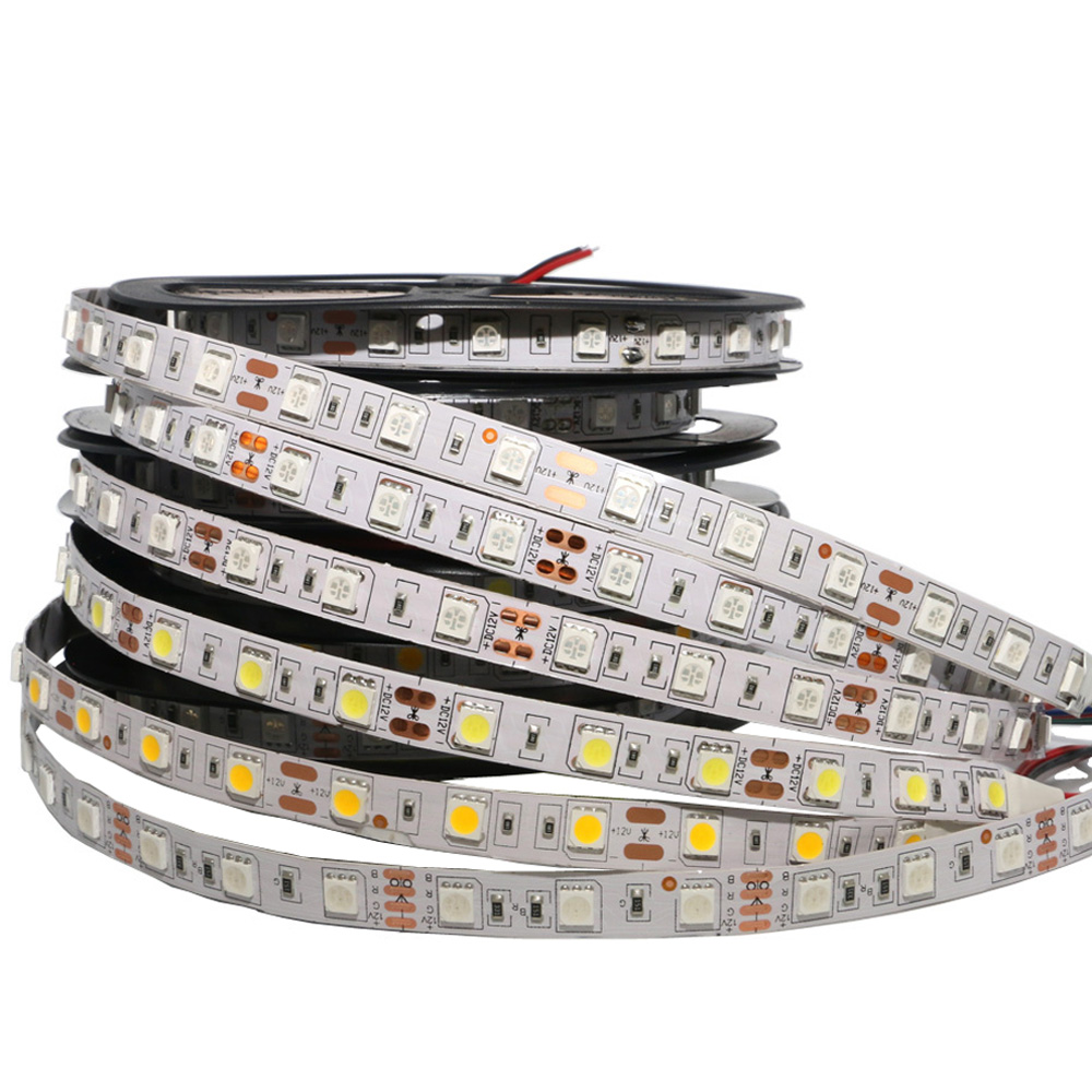 RGB LED Strip Light SMD 5050 60LED/M Lamps DC12V Flexible Light Ribbon 1/2/3/4/5M Bar Light Non-waterproof Led Stripe Tape White