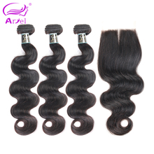 Ariel Brazilian Body Wave With Closure 3 Bundles With Lace Closure Natural Color Non Remy Human Hair Bundles With Closure(China)