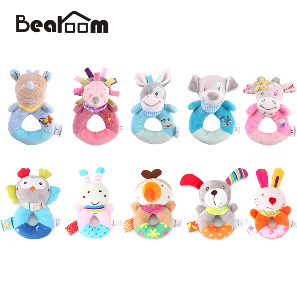 Bearoom Rattle Cute Toys Plush Baby Toys For Baby Toys 0-12 Months Cartoon Puppy Bell Musical Mobile Soft Fun Learning Education