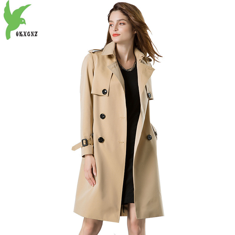 High quality   trench   coat 2018 Women Spring Autumn Windbreaker fashion waterproof coat Plus size   trench   female top OKXGNZ H311