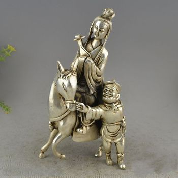 China Collectible Handwork Carving white copper Wang zhaojun travel Statue