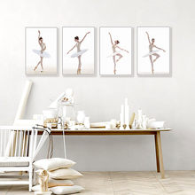 Modern Different Ballet Movements White Photo Art Prints Poster Wall Picture Canvas Painting No Frame Ballerina Home Deco(China)