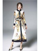 Модные Винтаж с этническим принтом Для женщин Платья для женщин с длинным рукавом Slim Fit завязывается пояс с бантом контрастным воротником длинное платье вечерние платья