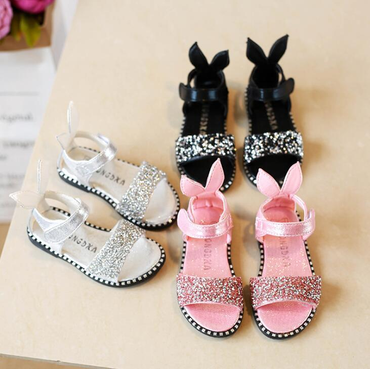 2019 New Summer Childrens Fashion Princess Shoes Rhinestone Rabbit Ears Girls Sandals Size 21-362019 New Summer Childrens Fashion Princess Shoes Rhinestone Rabbit Ears Girls Sandals Size 21-36