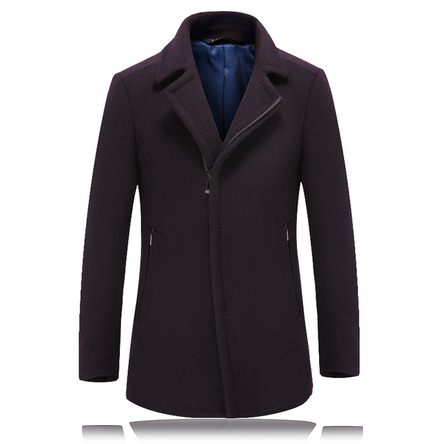 2 Color Winter Wool Jacket Men High-end Business Brand Men's  Clothing Slim Solid Wool Coat Men Thickening Zipper Overcoat