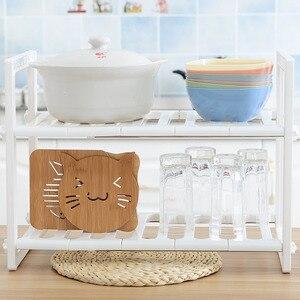 Image 5 - 調整可能なキッチン収納棚食器棚オーガナイザースパイスラック浴室付属品省スペース靴ラックホルダー本棚
