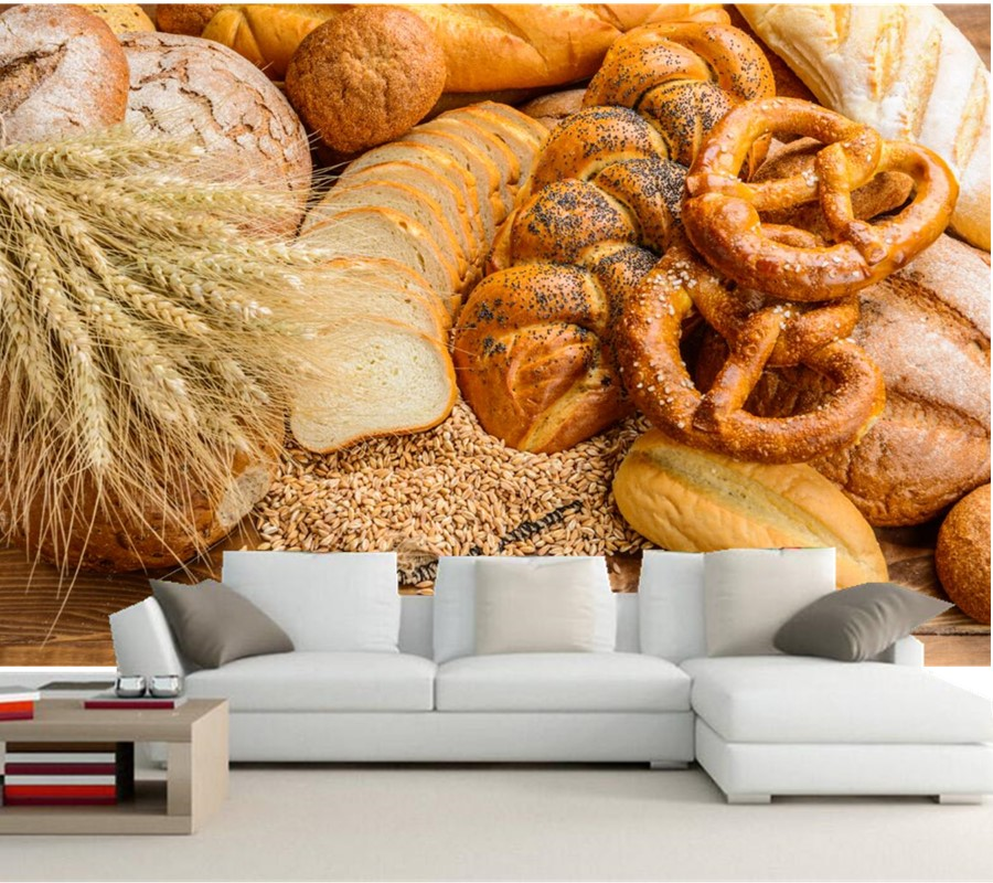 US $13.05 55% OFF|Benutzerdefinierte foto 3d wandbild, Backen Brot Brötchen  Ohr botanik Lebensmittel tapeten, esszimmer sofa TV wand küche tapete ...