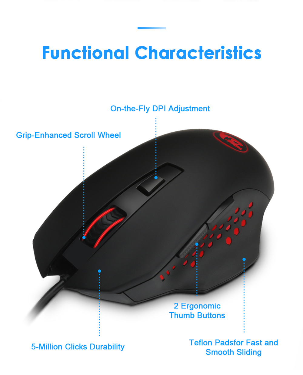RedDragon® High Quality USB Gaming Mouse 3200 DPI 6 Buttons Ergonomic Design