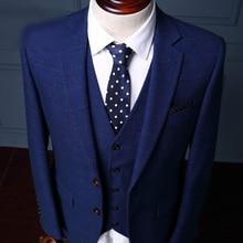 High Quality 2017 Blue Plaid Suit Male Groom Dress Suits Set Men's Spring 3 Piece Suits For Wedding (Jacket/ Vest/ Pant)