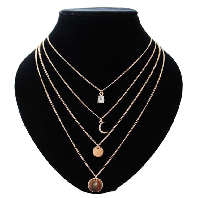 Multi Layer Choker Necklaces Pendants Rhinestone Crystal Water Drop Moon Gold-color Round Thin Link Chain Women Necklace