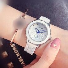 Trend Ladies Ceramics Petal pattern Golden pointer Wrist Watches for Women Bracelet Clasp  Fashion & Casual Gift Quartz Watch