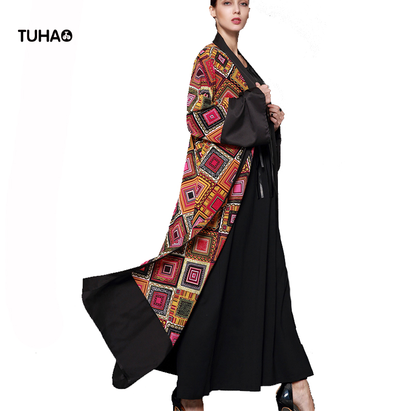 TUHAO Pattern Print   Trench   Coats Thin Fashion Contrast Casual Cardigan X-Long Robe Femme 5XL Plus Size Women's Clothing TB1539