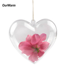 Ourwarm 50pcs 6.5 cm Clear Hanging Ball Baubles Heart Ball Ornaments Xmas Tree Home Decor Christmas Tree Xmas Decoration