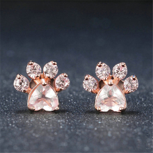 ROXI New Hot Trendy Cute Cat Paw Earrings For Women Fashiong Rose Gold Earring Pink Claw Print Bear and Dog Stud