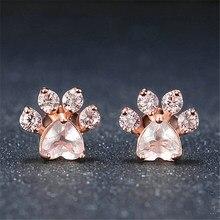 Roxi nova moda quente bonito gato pata brincos para as mulheres fashiong rosa ouro brinco rosa garra impressão urso e cão pata do parafuso prisioneiro brincos