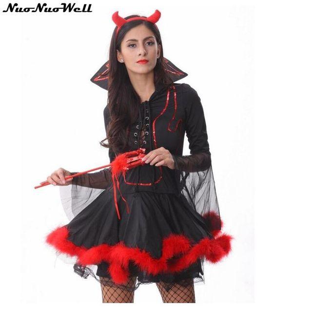 Sexy Strega Costume Adulto di Halloween Diavolo Rosso Vestito Costume  Femminile con la Mano Forcella Travestimento edcf2b7f2f24