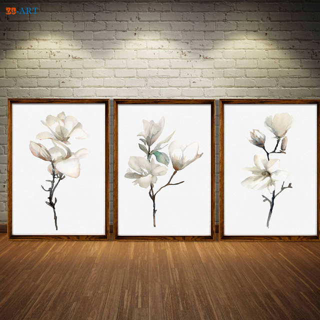 framed wall art for living room colors small walls canvas painting print white magnolia abstract flower watercolor decor
