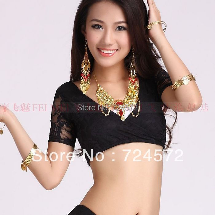 Belly Dance Dancing Costume Rose Lace Short Sleeves Top&tees Belly Dance Wear Clothing