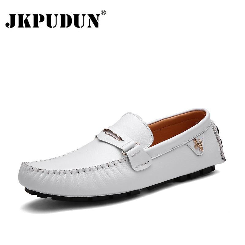 JKPUDUN Diseñador de Cuero Suave Para Hombre Mocasines Mocasines Guisantes Hombres Italianos Zapatos de Conducción Slip