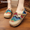 Stripped Rainbow Embroidery Womens Casual Linen Cotton Loafers Slip on Vintage Ladies Canvas Walking Flat Shoes Hemp Bottom