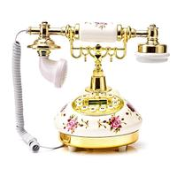 American Style Retro Telephone Landline Ceramic European Creative High End Telephone Rose Desktop Phone For Home Office Decor