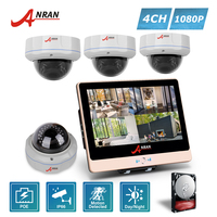 ANRAN Plug Play P2P 1080P HDMI 4CH NVR 12 Inch LCD 30 IR Outdoor Dome Security