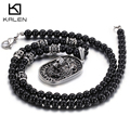 China Jewelry Manufacturer Kalen New Glass Beads Chain 316L Stainless Steel Lion Head Pendant Statement Men's Necklace Cool Gift