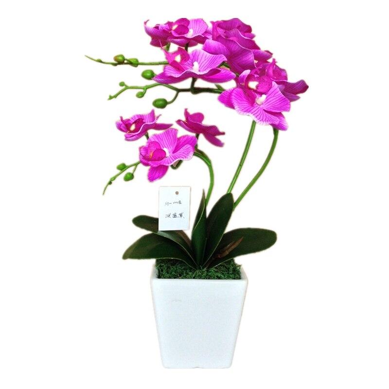 Hight Quality artificial maceta de Orquídeas orquídea mariposa de seda planta con florero de resina para